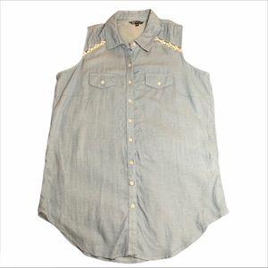 3/$25 Sleeveless Jean Button Down by Hannah -S